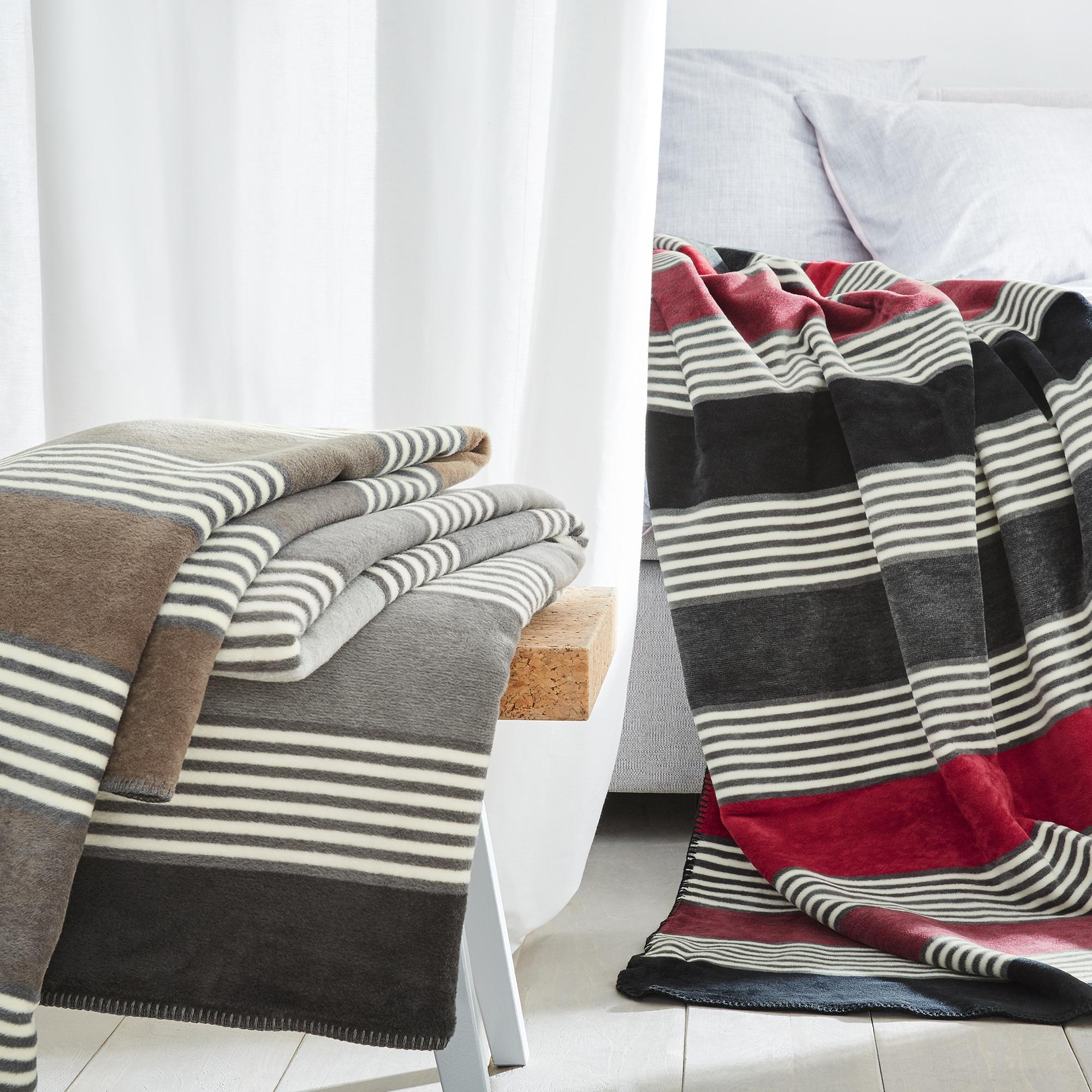 streifen decke ibena elva 3019 kuscheldecke anthrazit rot wolldecke 150 x 200 cm aus. Black Bedroom Furniture Sets. Home Design Ideas