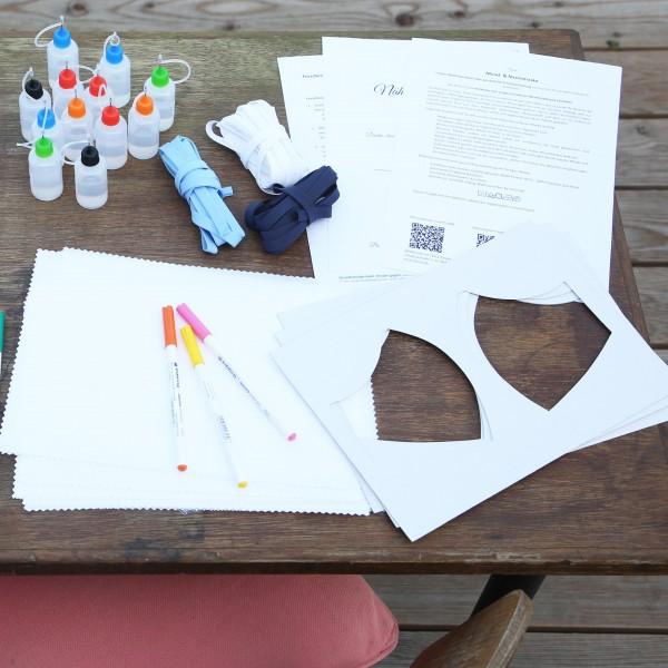 Starterset I für Standardablauf in Grundschulen Kinder gegen Corona / Materialset Maskenstoff IBENA