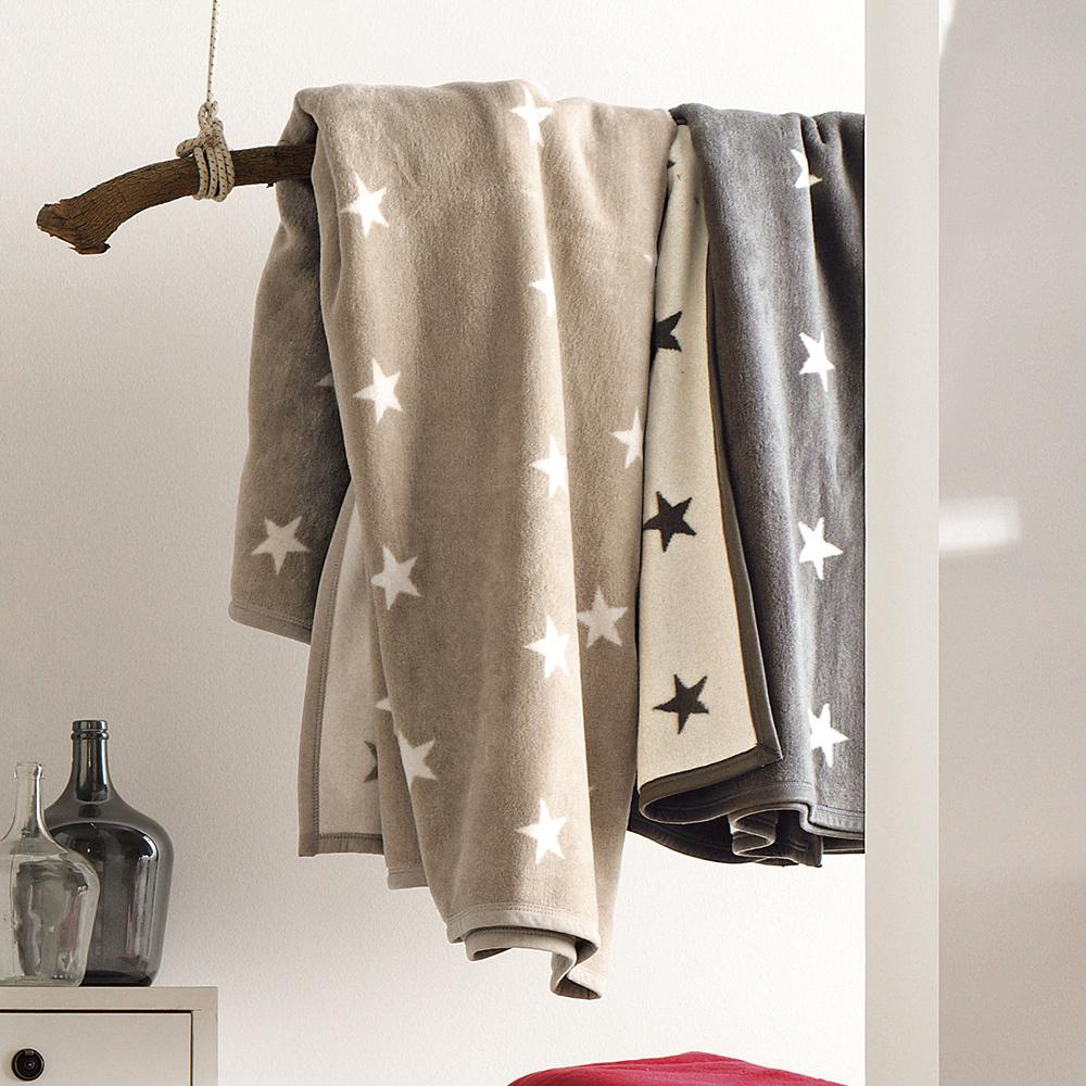 ibena kuscheldecke atlanta tagesdecke anthrazit wollwei wolldecke 150x200cm mit sternen aus. Black Bedroom Furniture Sets. Home Design Ideas