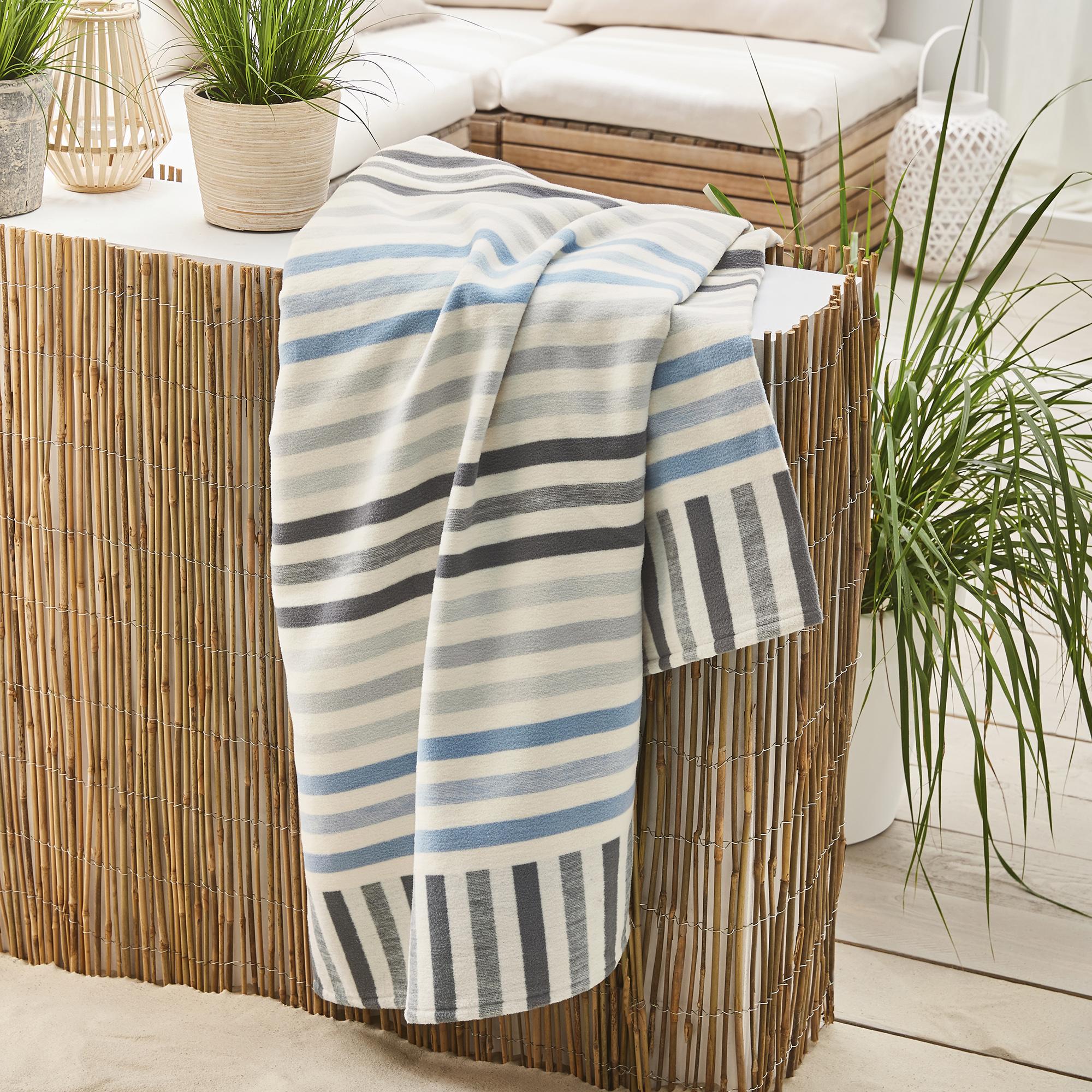 kuscheldecke 100 baumwolle ibena rio 2155 tagedecke natur blau gestreift bio baumwolldecke. Black Bedroom Furniture Sets. Home Design Ideas