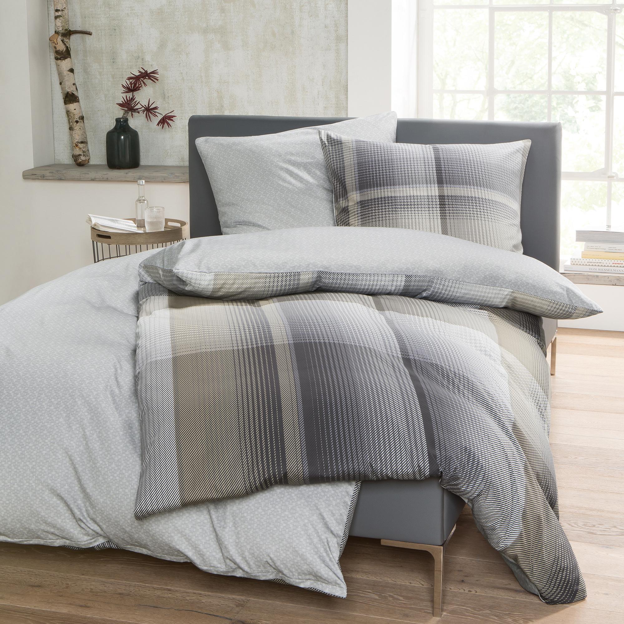 bettw sche bugatti 135x200cm mako satin 100 baumwolle beige kariert 2 teiliges set aus. Black Bedroom Furniture Sets. Home Design Ideas